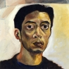 Autoportait, 50x50 cm, huile sur toile, 1993-1998.